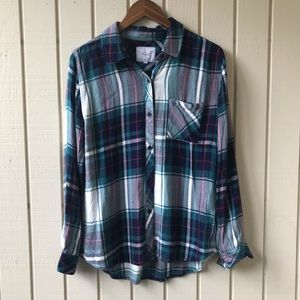 RAILS Hunter Green Navy Plaid Long Sleeve Flannel